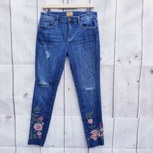 DRIFTWOOD Jackie Floral Embroidered Skinny Jeans